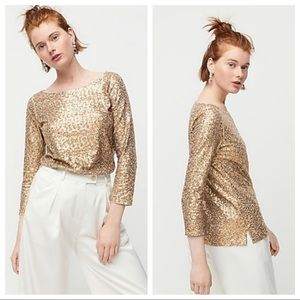 Sequined J. Crew Gold Boatneck Blouse Size Small